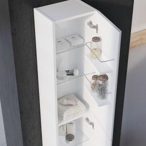 Dopełnieniem kolekcji jest słupek, wyposażony nie tylko szklane półki, które można dowolnie regulować, ale również dwie dodatkowe półki po wewnętrznej stronie drzwi. Fot. Elita