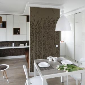 Przestrzeń salonu rozdzielono od kuchni dodatkową ścianką, przy której, z obu stron, umiejscowiono meble do przechowywania. Projekt: Małgorzata Mazur. Fot. Bartosz Jarosz.
