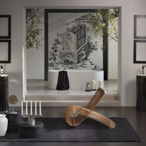 Biało-czarna ceramika -  umywalka podłogowa Oval Bicolor firmy Flaminia. Fot. Flaminia