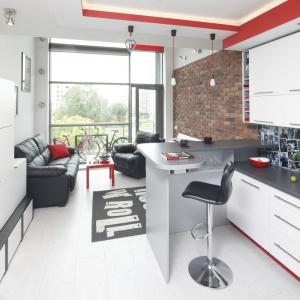 Kuchnię od salonu umownie oddziela półwysep a obie przestrzenie łączy harmonizują zabudowa oraz poprowadzony wzdłuż całego mieszkania (w tym również kuchni) ciąg komunikacyjny. Projekt: Monika Olejnik. Fot. Bartosz Jarosz.