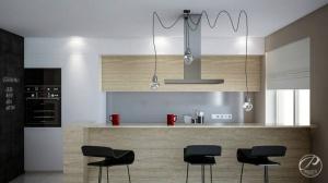 Jasna oprawa kuchennych mebli tworzy podkreśla ich elegancję, kreuje estetykę wnętrza. Smaczku dodają designerskie lampy.