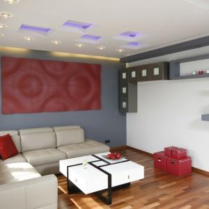 W nowoczesnym wnętrzu panele 3D zdobią ścianę nad kanapą. Projekt: Jolanta Kwilman. Fot. Bartosz Jarosz.