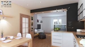 widok z kuchni na salon i drzwi wejściowe z przedpokoju
