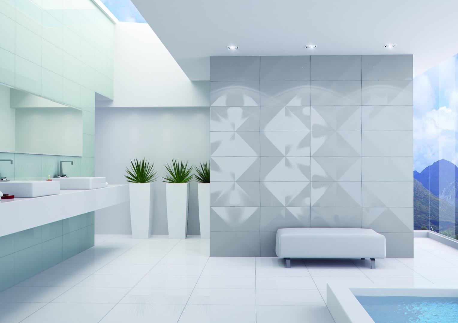 Modna łazienka Płytki Ceramiczne Z Efektem 3d Galeria