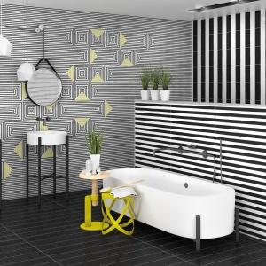 W geometryczne wzory z efektem 3D - płytki ceramiczne Fusion firmy Vives Ceramica. Fot. Vives Ceramica.