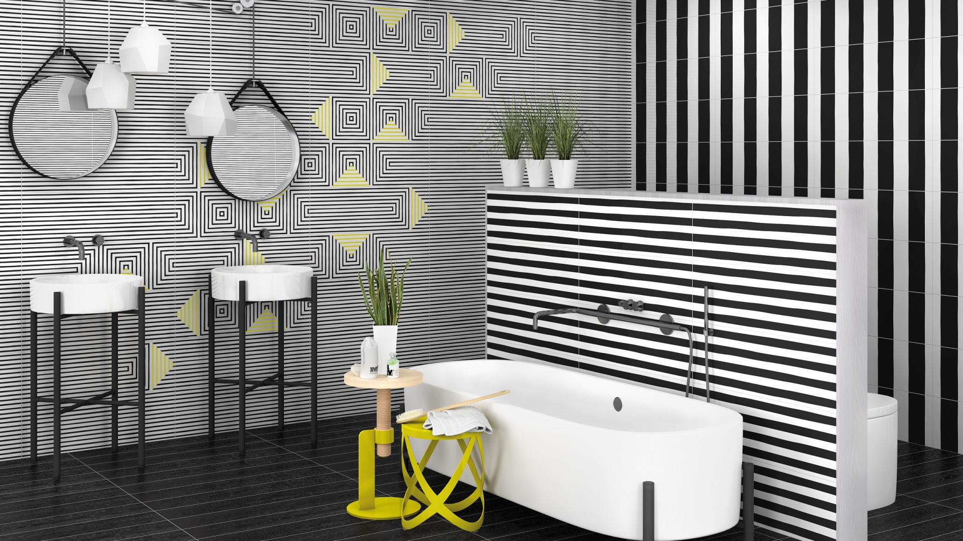 Modna łazienka Płytki Ceramiczne Z Efektem 3d