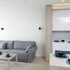 Całe mieszkanie urządzone jest w przejrzysty, ale niezwykle pomysłowy sposób. Na ścianach dużo bieli, jasna podłoga i spora ilość szkła. Aby drewno zbytnio nie obciążało przestrzeni, skontrastowano je z chłodniejszymi szarościami, bielą i dodatkami w kolorze niebieskim. Projekt: Agnieszka Zaremba, Magdalena Kostrzewa-Świątek. Fot. Bartosz Jarosz.