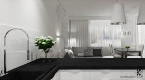 Salon z kuchnią w mieszkaniu na Ursusie