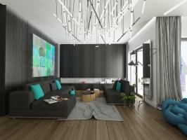 Spokojne wnętrze z instalacją świetlną w roli głównej