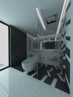 Czarno-biała łazienka. Mała i otwarta przestrzeń