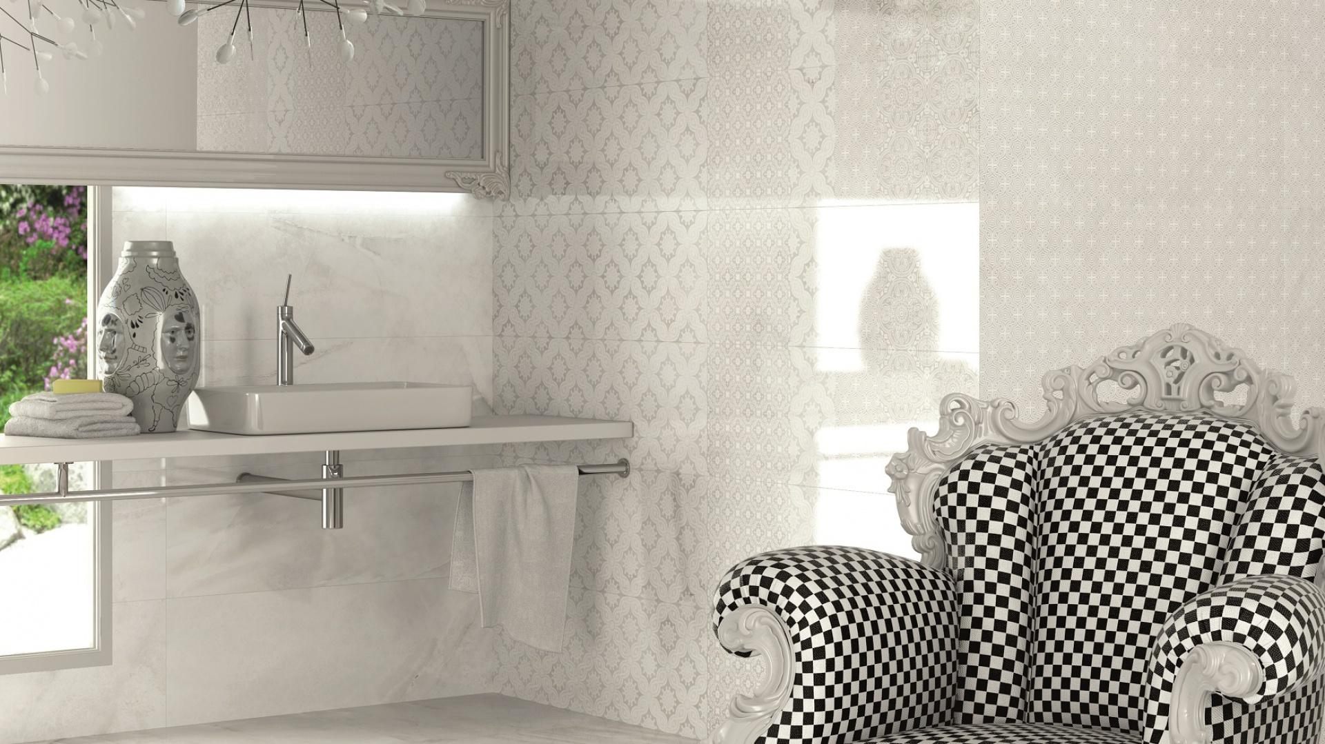 Biały kamień w stylu lat 20. XX wieku - płytki ceramiczne Dandy firmy Vives Ceramica. Fot. Vives Ceramica.