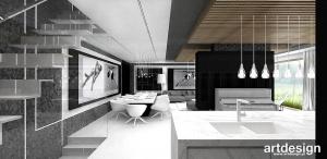Nowoczesna aranżacja salonu z jadalnią i kuchnią