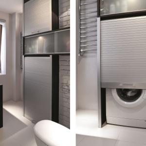 Łazienka dla rodziny ze schowkiem na pralkę. Powierzchnia: ok. 5 m². Projekt: Maciej Bołtruczyk. Fot. Monika Filipiuk-Obałek.