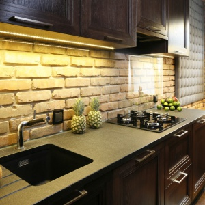 Cegłę pochodzącą z rozbiórki wykorzystano do wykończenia ścian w całej kuchni. Nad blatem materiał przekryto przezroczystym szkłem. Projekt: Izabela Mildner. Fot. Bartosz Jarosz.
