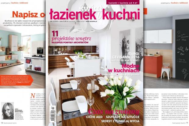 Ciekawe pomysły, porady, projekty kuchni oraz łazienek, modne rozwiązania można znaleźć w najnowszym wydaniu 2-2016 magazynu Świat Łazienek i Kuchni. Zapraszamy do lektury!