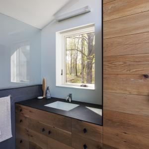 Połączenie drewna z satynową czernią nadaje meblom łazienkowym elegancję. Projekt: Sharon Davis Design. Fot. Elizabeth Felicella