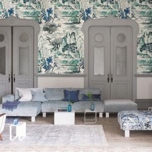 Shanghai Garden to stylowa tapeta inspirowana chińską tradycją malarstwa pejzażowego. W dottku przypomina tradycyjny chiński pergamin! Fot. Designers Guild/Decodore.