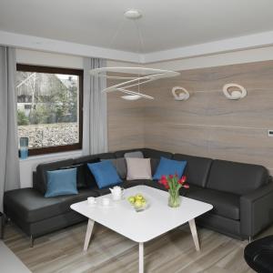 Ścianę w salonie zdobią płytki imitujące drewno. Projekt: Marta Kilan. Fot. Bartosz Jarosz.