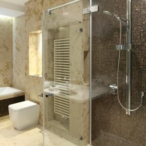 Kabina prysznicowa nie ma tradycyjnego brodzika. Ścianę w niej wykończono błyszczącą mozaiką.   Fot. Bartosz Jarosz.