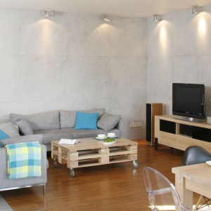 Beton na ścianie i szare meble wypoczynkowe idealnie ze sobą harmonizują kolorystyką. Ociepla je drewno w różnym wybarwieniu. Projekt: Marta Kruk. Fot. Bartosz Jarosz.