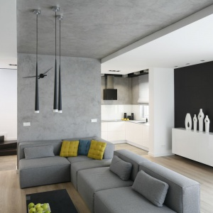Nowoczesny, minimalistyczny salon, w którym szara ściana, przechodząca w podwieszany sufit, do którego równolegle ustawiono nowoczesne, szare meble wypoczynkowe. Projekt: Karolina Stanek-Szadujko, Łukasz Szadujko. Fot. Bartosz Jarosz.
