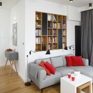 Salon w bloku został urządzony w nowoczesnym stylu z naciskiem na funkcjonalność. Szary narożnik sąsiaduje z wnęką w ścianie funkcjonująca jako pojemna biblioteczka. Projekt: Małgorzata Łyszczarz. Fot. Bartosz Jarosz.
