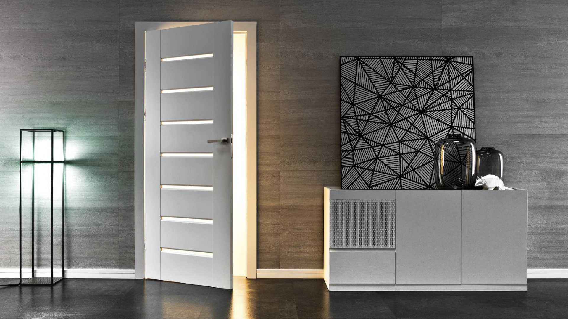 Drzwi Inovo to eleganckie proste wzornictwo oparte o liczne, poziome przeszklenia. Fot. Vox Drzwi i Podłogi.