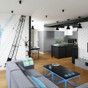 Telewizor zamontowano na ścianie wykończonej białą cegła. Wzdłuż niej, równoległe do ekranu poprowadzono szarą szafkę RTV. Projekt: Monika i Adam Bronikowscy. Fot. Bartosz Jarosz