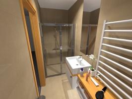Beżowa łazienka z drewnianymi akcentami