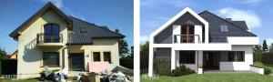 Projekt zmiany elewacji w willi pod Warszawą