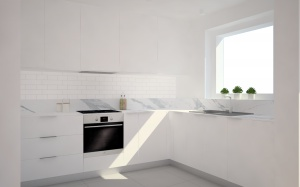 Kuchnia w wersji białej, z cienkim blatem o teksturze marmuru