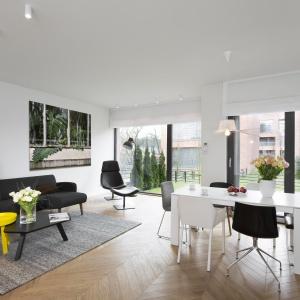 Bardzo dużą rolę w aranżacji wnętrza pełnią meble, które - przy oszczędnym podejściu do dekoracji - stają się głównym elementem nadającym ton pomieszczeniom. Fot. Nickel Development