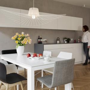 Otwartą strefę dzienną spaja wizualnie jednorodna drewniana podłoga oraz szara ściana, na tle której pięknie wyeksponowano białe meble kuchenne. Fot. Nickel Development