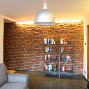 Ściana z czerwonej cegły stanowi stylowe tło dla regałów z książkami. Projekt: Katarzyna Karpińska-Piechowska. Fot. Bartosz Jarosz