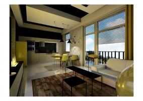 Widok kuchni , blaty i ściany ze spieku kwarcytowego, orginalna żółta lodówka idealnie pasuje do dodatków w wnętrzu
