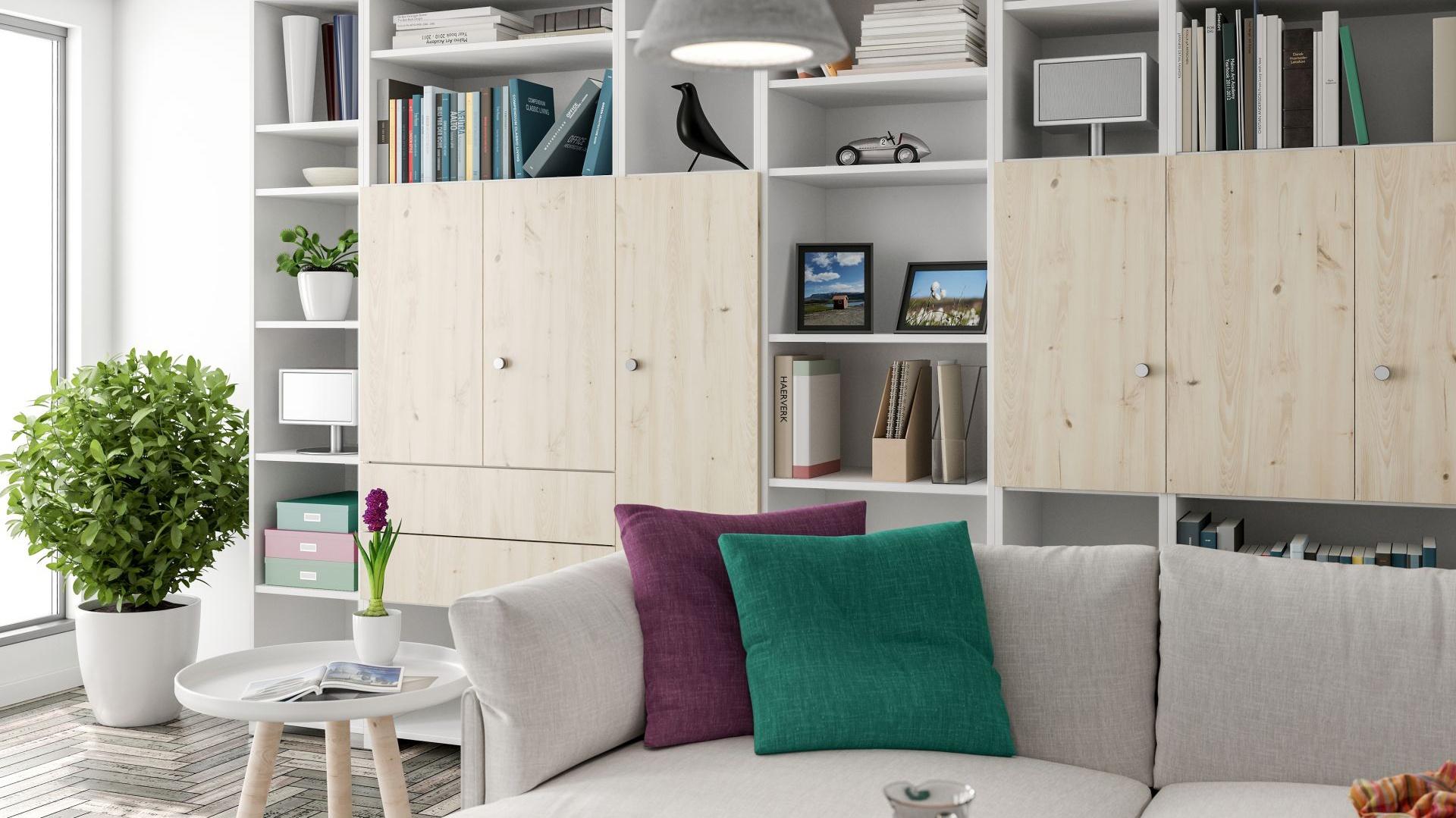 Meblościanka w tym salonie ma fronty, które zdobi piękny dekor Pordoi, przedstawiający sosnę w chłodnym wybarwieniu. Fot. Interprint
