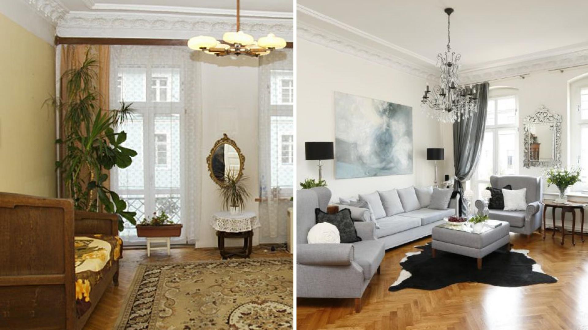 Salon przed remontem był ciemny i przynębiający. Projektant Iwona Kurkowska zobaczyła w nim potencjał na nowoczesne wnętrze w klasycznym stylu. Fot. Iwona Kurkowsa/Fot. Bartosz Jarosz