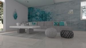 Wnętrze domu z nietypową ścianą z płytek