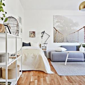 Mieszkanie jest jednopokojowe, zatem funkcje salonu i sypialni połączono w jednym pomieszczeniu. Fot. Svenskfast