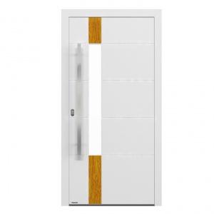 Projekt drzwi wyróżnia się wąskim, pionowym przeszkleniem, powyżej i poniżej którego znajduje się aplikacja w kontrastowym kolorze. Fot. DAKO