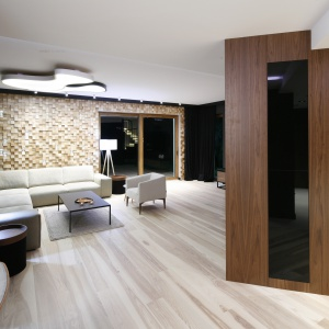 Ścianę za narożnikiem w salonie wykończono drewnem. Nie są to jednak tradycyjne deski, a swoista płaskorzeźba, złożona z trójwymiarowych, drobnych kawałeczków drewna. Projekt: Jan Sikora. Fot. Bartosz Jarosz