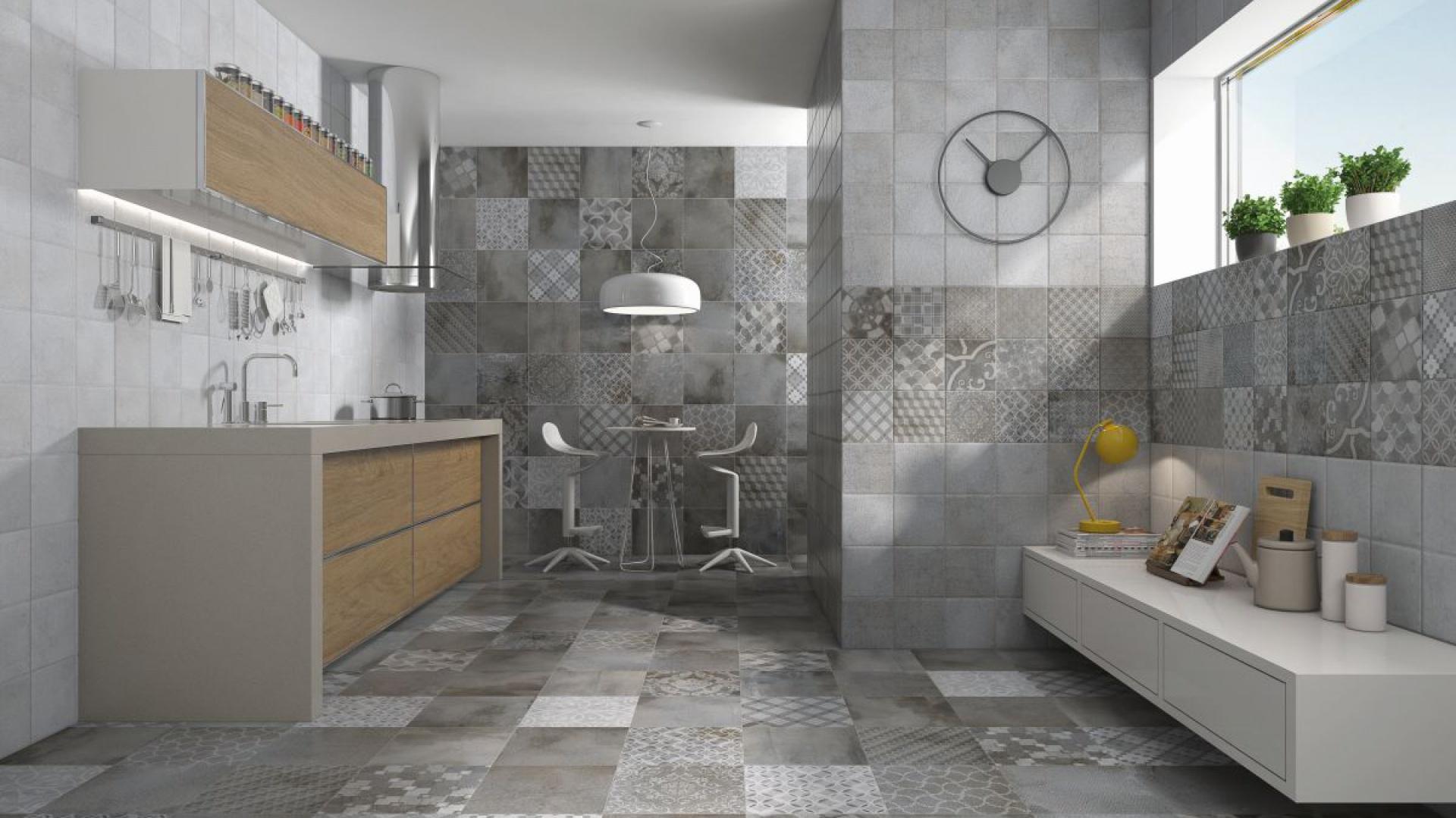 Płytki ceramiczne z kolekcji Urban life to połączenie szarych, imitujących beton faktur z patchworkowym wzorem. Fot. Brayen Ceramicas