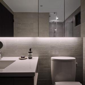 Lustrzane fronty zabudowy w łazience optycznie powiększają wnętrze. Projekt: Z-AXIS Design. Fot. Hey!Cheese Photography