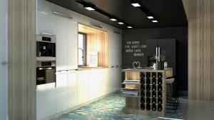 Różnorodne heksagonalne płytki oraz biała kuchnia świetnie kontrastują z czarnym sufitem i ścianą kredowo-magnetyczną.