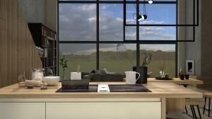 Z każdego miejsca widok za oknem jest rewelacyjny. Duże przeszklenia idealnie oświetlają wnętrze. Kominek oraz ścianę przy schodach wykończyliśmy betonem architektonicznym, w ciepłej tonacji, która współgra z drewnianymi wykończeniami oraz posadzką żywiczną.