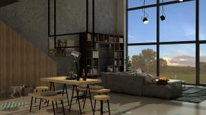Wnętrze jest surowe, ale ozdobione naturalnymi materiałami. Stąd też pomysł na meble jadalniane wykonane z korka.