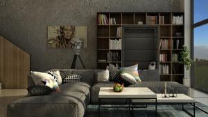 W salonie nie zabrakło miejsca na książki. W środku regału jest tapicerowane siedzisko, które zaprasza do lektury. Jest to specjalnie przygotowana zabudowa regałowa, która doskonale wpisuje się we wnętrzu, a jednocześnie wydziela