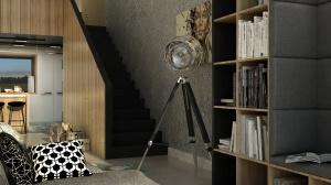 Schody prowadzÄ…ce na antresolÄ™ sÄ… czarne, podobnie jak posadzka antresoli. Drewniana balustrada zamkniÄ™ta jest czarnÄ… ramkÄ…. Jest to prosty i ciekawy detal we wnÄ™trzu.