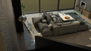 Modułowa sofa w salonie zapewnia ciekawą kompozycję, zachęcającą do wypoczynku.