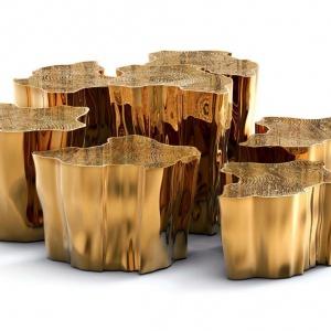 Stoliki z serii Eden marki Boca Do Lobo z polerowanego mosiądzu. Wiernie  naśladujące naturę detale to dzieło  doświadczonych rzemieślników. Fot. Galeria Heban